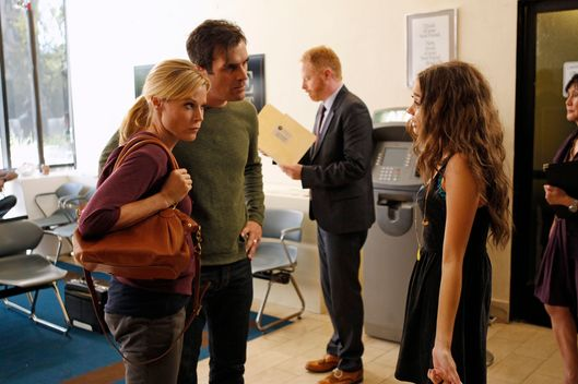 "MODERN FAMILY - ""Arrested"" - Phil and Claire get the dreaded late night call that Haley has been arrested for under-aged drinking, so they bring Mitchell, the family lawyer, in tow to the police station. Cameron stays back to watch over Alex and Luke, but they get into some crazy mishaps under his care. Meanwhile, Jay gets out of baby shopping with Gloria, but ends up having to deal with a surprise visit from Dede, and tries to scoot her out before Gloria gets home to prevent Dede from seeing that she's pregnant and to avoid the potential blowback, on ""Modern Family,"" WEDNESDAY, NOVEMBER 7."