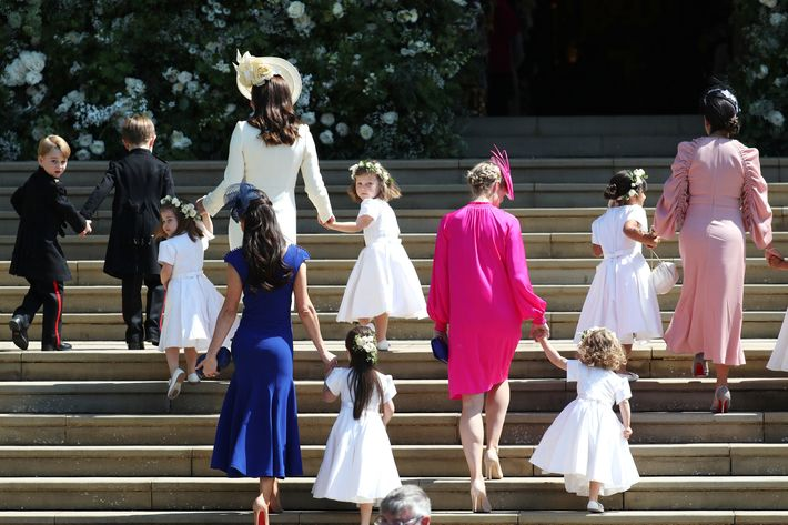 Moms escorting their kids at the royal wedding.