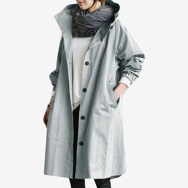 Carine Water Resistant Oversized Hooded Windbreaker Rain Jacket
