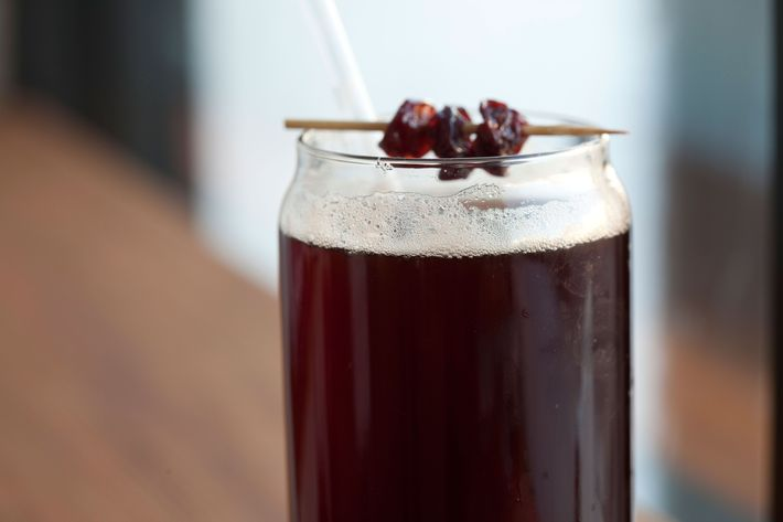 The Cherry Bombe is made with espresso, soda water, and sour-cherry juice.