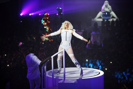Lady Gaga performs at artRave on November 10, 2013 in Brooklyn, New York.