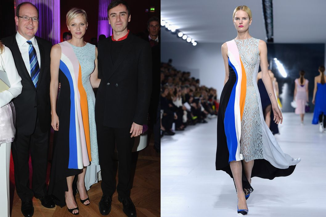 (L-R) Prince Albert II of Monaco, Princess Charlene of Monaco and fashion designer Raf Simons attend the Dior Cruise Collection 2014 cocktail on May 18, 2013 in Monaco, Monaco.