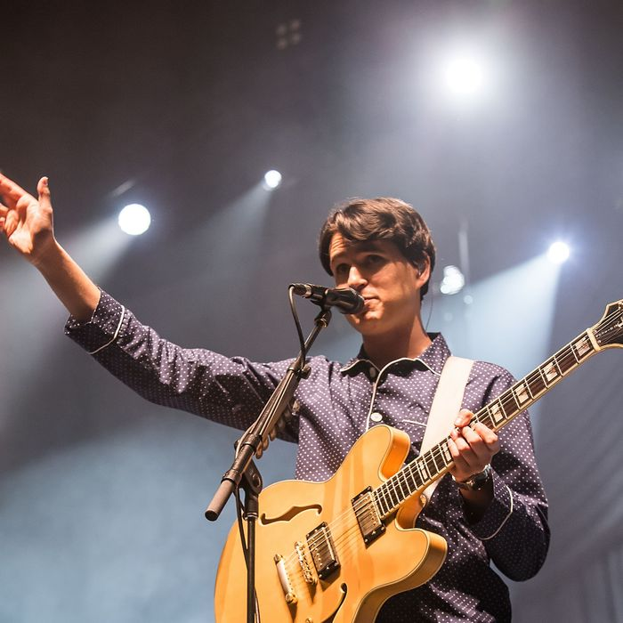 SEATTLE, WA - DECEMBER 03: Ezra Koenig of Vampire Weekend performs live at Key Arena on December 3, 2013 in Seattle, Washington. (Photo by Suzi Pratt/FilmMagic)