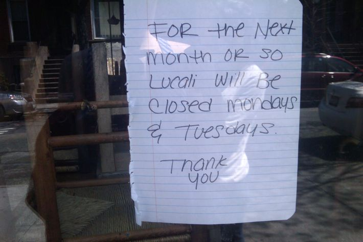 The sign outside Lucali.