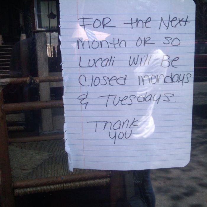 The sign outside Lucali.