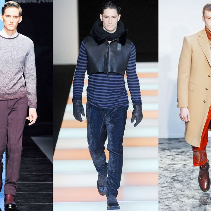 From left: new looks from Salvatore Ferragamo, Emporio Armani, and Pringle of Scotland.