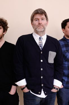 PARK CITY, UT - JANUARY 23:  Filmmaker Will Lovelace, musician James Murphy and filmmaker Dylan Southern pose for a portrait during the 2012 Sundance Film Festival at the Getty Images Portrait Studio at T-Mobile Village at the Lift on January 23, 2012 in Park City, Utah.  (Photo by Larry Busacca/Getty Images)