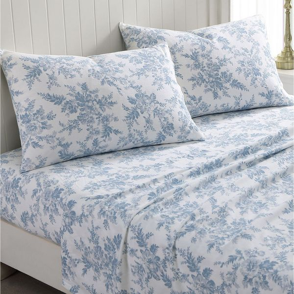 Laura Ashley Vanessa Flannel Cotton Queen Sheet Set