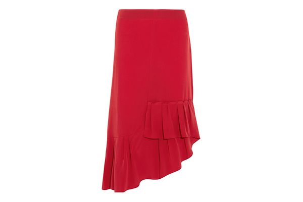 Tibi asymmetric pleated silk midi skirt