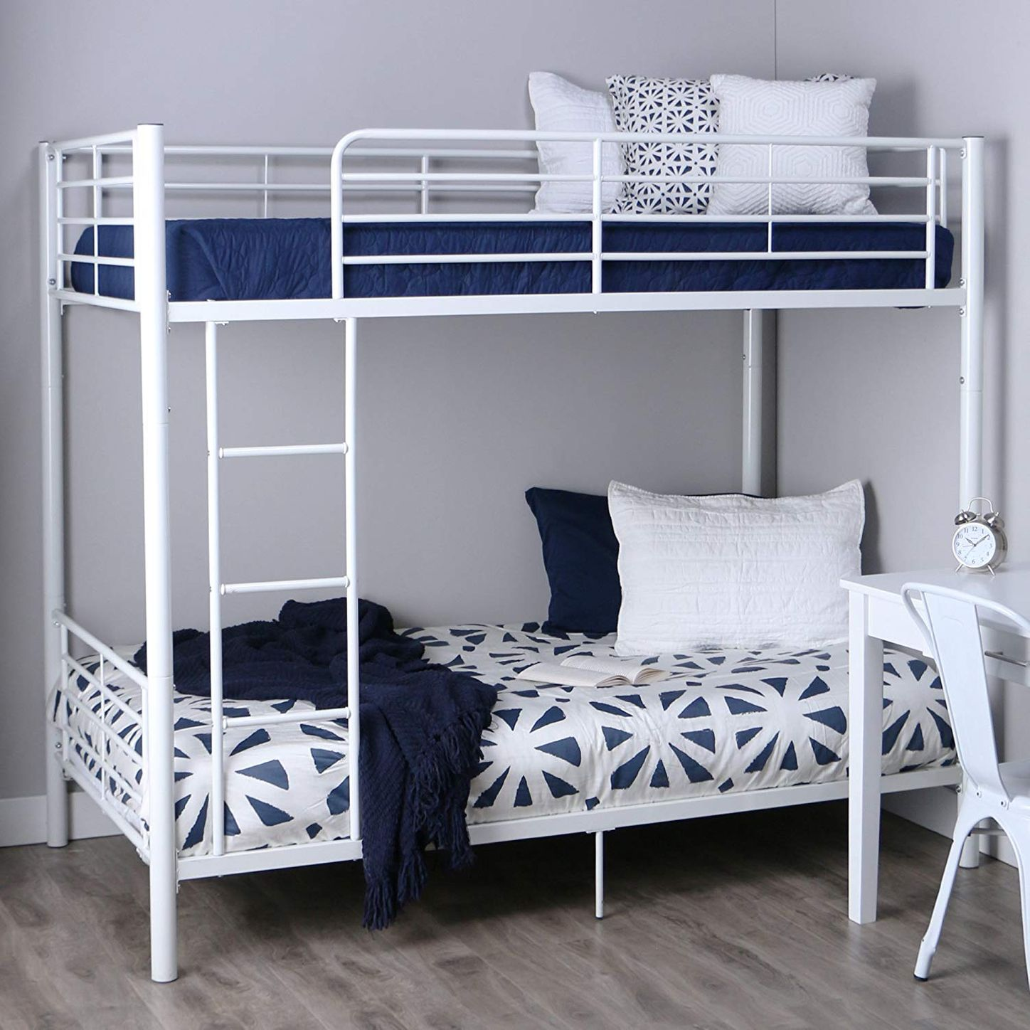 d34dbec75564 Best bunk bed for teenagers. Walker Edison AZTOTWH White bunk Bed, Twin