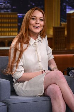 "Lindsay Lohan visits ""The Tonight Show Starring Jimmy Fallon"" at Rockefeller Center on March 6, 2014 in New York City."
