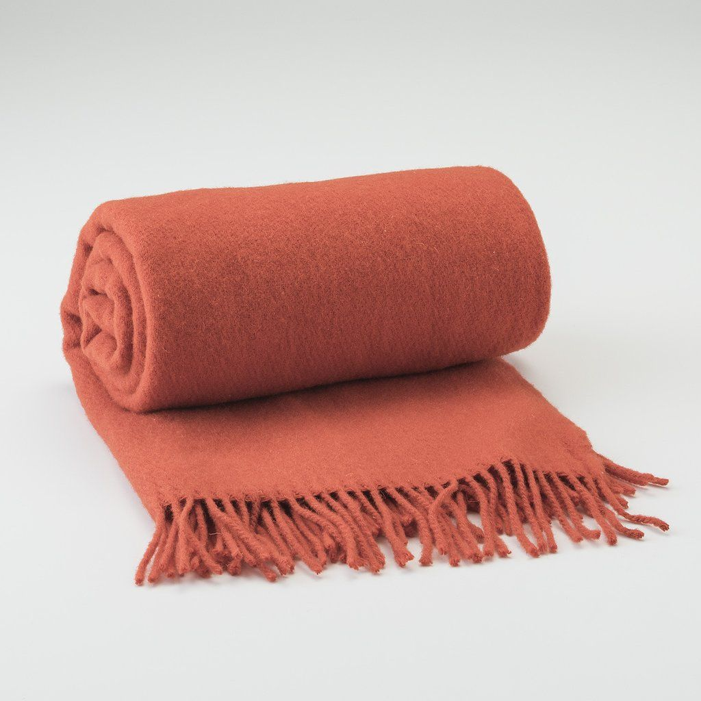 Schoolhouse Tangerine Fringed Throw