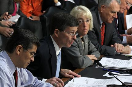 """WASHINGTON, DC - SEPTEMBER 13:  Committee co-chair Rep. Jeb Hensarling (R-TX) (2nd L) speaks as (L-R) Rep. Xavier Becerra (D-CA), co-chair Sen. Patty Murray (D-WA), Sen. Jon Kyl (R-AZ), and Sen. Max Baucus (D-MT) listen during a hearing before the Joint Deficit Reduction Committee, also known as the supercommittee, September 13, 2011 on Capitol Hill in Washington, DC.  The committee heard from Congressional Budget Office Director Douglas Elmendorf on """"The History and Drivers of Our Nation's Debt and Its Threats.""""  (Photo by Alex Wong/Getty Images)"""