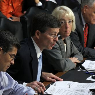WASHINGTON, DC - SEPTEMBER 13: Committee co-chair Rep. Jeb Hensarling (R-TX) (2nd L) speaks as (L-R) Rep. Xavier Becerra (D-CA), co-chair Sen. Patty Murray (D-WA), Sen. Jon Kyl (R-AZ), and Sen. Max Baucus (D-MT) listen during a hearing before the Joint Deficit Reduction Committee, also known as the supercommittee, September 13, 2011 on Capitol Hill in Washington, DC. The committee heard from Congressional Budget Office Director Douglas Elmendorf on