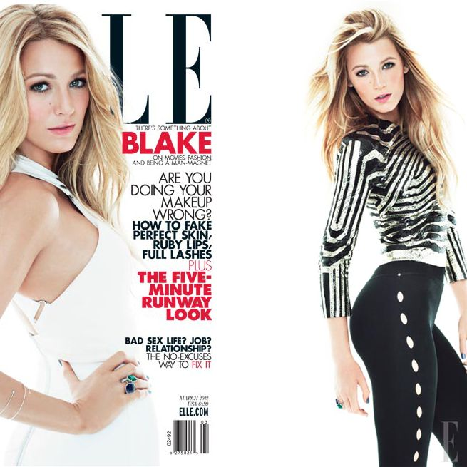 Blake Lively's March Elle cover (left) and accompanying editorial, shot by Tom Munro.