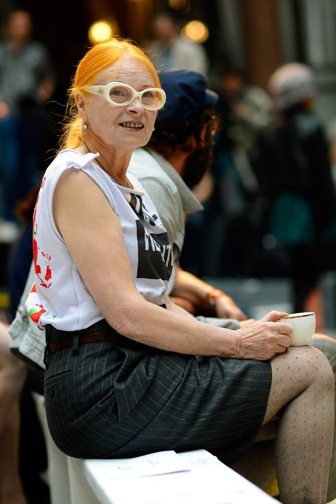 Vivienne Westwood watches models rehearse before her Red Label show on day 3 of London Fashion Week Spring/Summer 2013, at the British Foreign & Commonwealth Office on September 16, 2012 in London, England