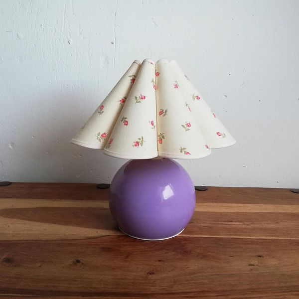 Purple Lamp With Fluted Lampshade