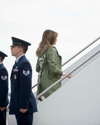 Melania Trump boarding a plane to Texas.