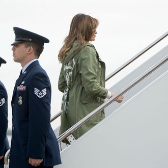 Melania Trump boarding a plane to Texas.