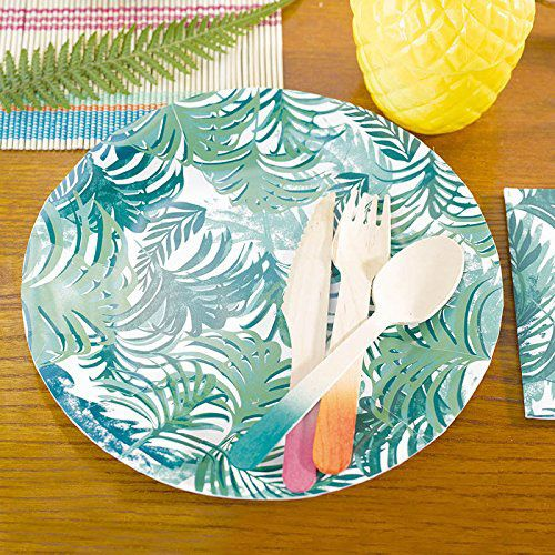 Talking Tables Fancy Frond Tropical Fiesta Party Plates, 12-Count, 9-Inch