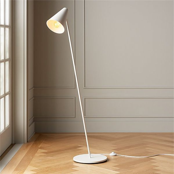 CB2 Task Matte White Floor Lamp