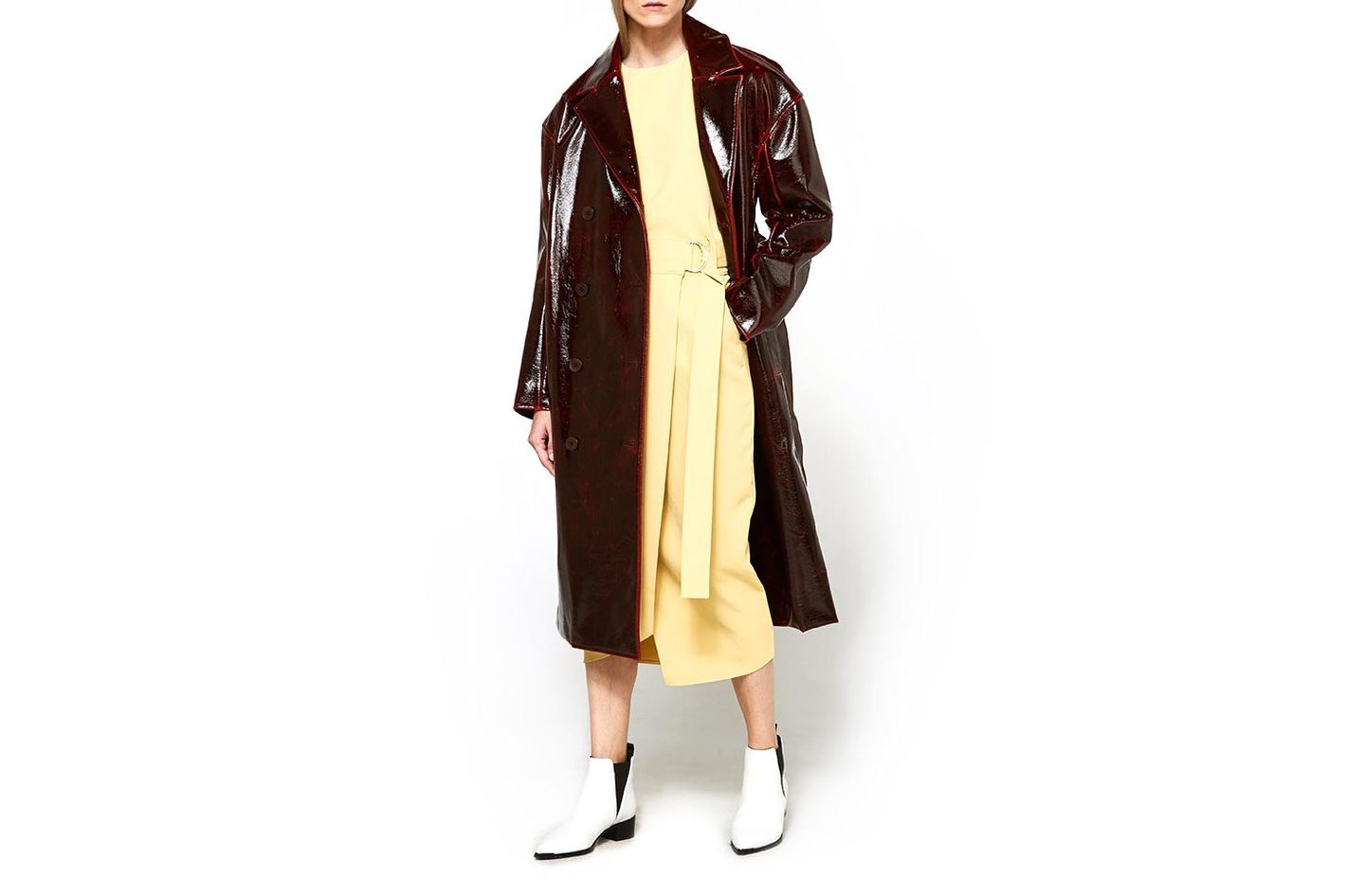 Patent Coated Oversized Wool Trench