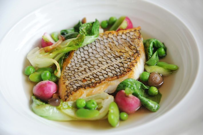 Black bass, bok choy, and mushroom broth.