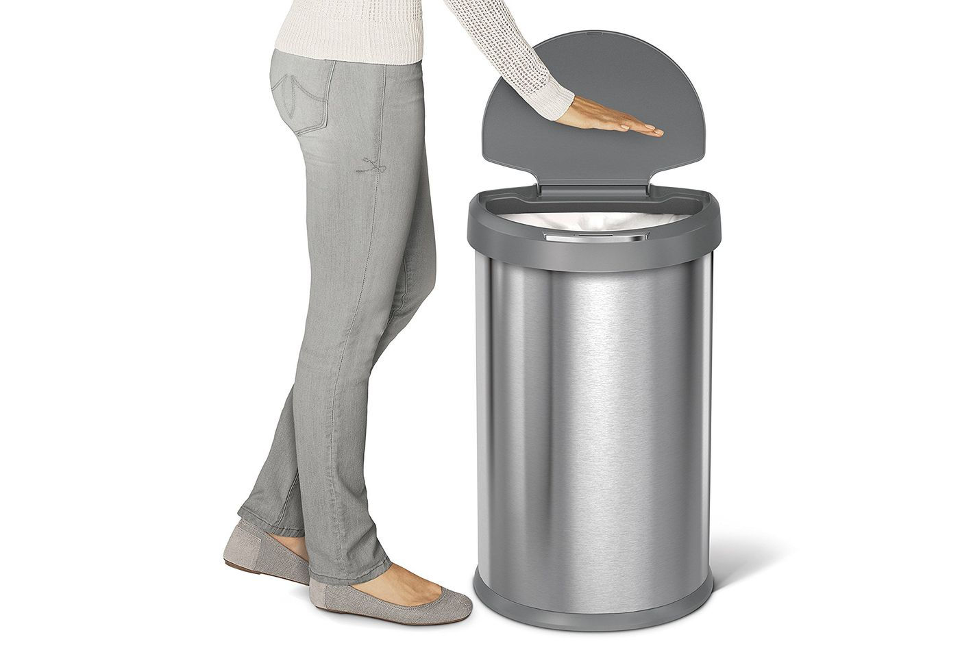 Best trash cans on amazon according to reviewers for Commercial bathroom trash cans