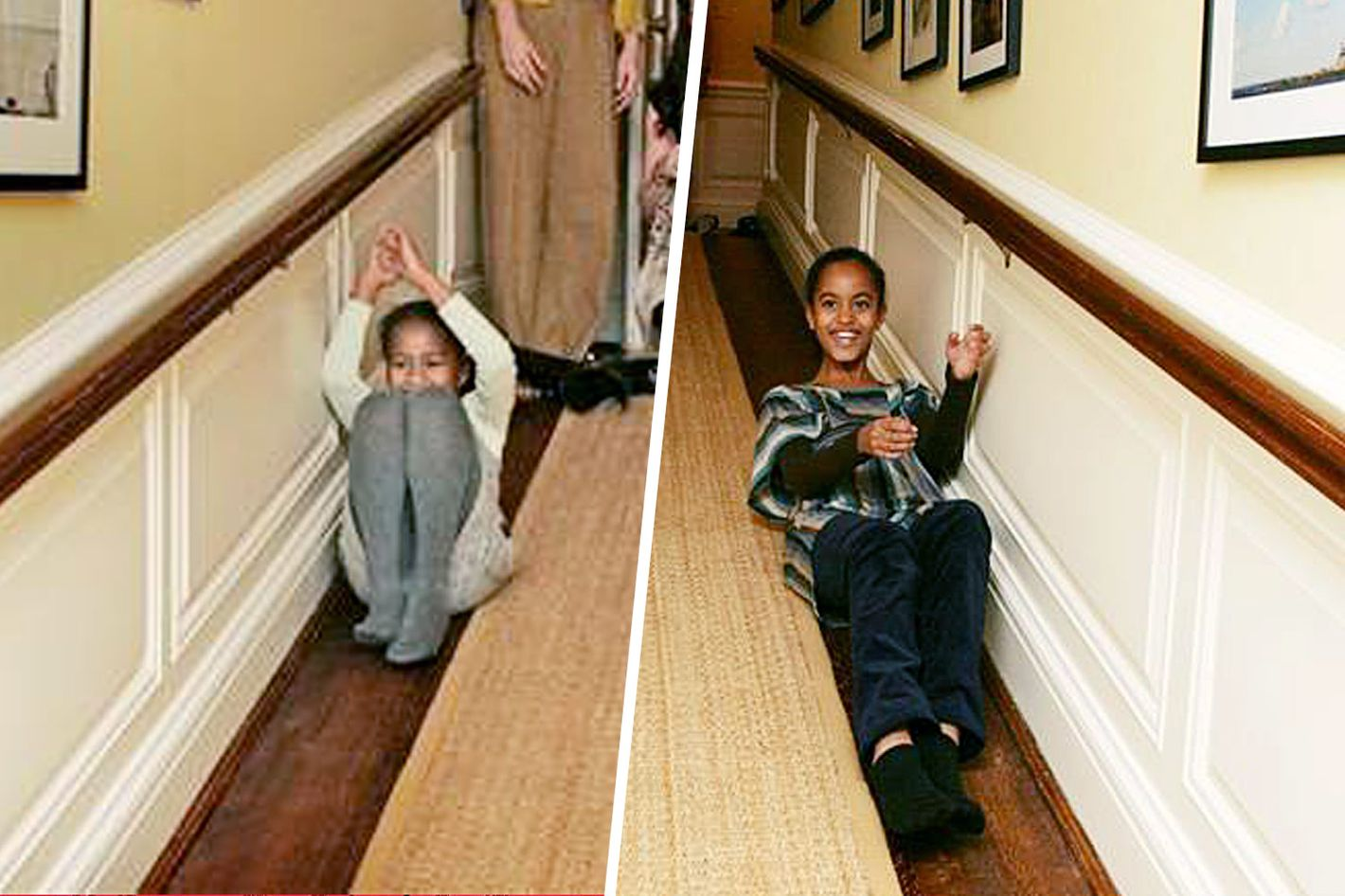 adorable photos of malia and sasha's first white house visit