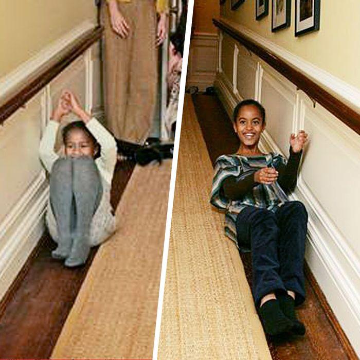 Adorable Photos Of Malia And Sashas First White House Visit