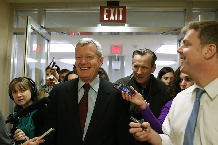 WASHINGTON, DC - APRIL 23:  Sen. Max Baucus (D-MT) is trailed by reporters April 23, 2013 on Capitol Hill in Washington, DC. It was announced earlier that Baucus, after 36 years in the Senate, will not seek reelection in 2014.  (Photo by Mark Wilson/Getty Images)