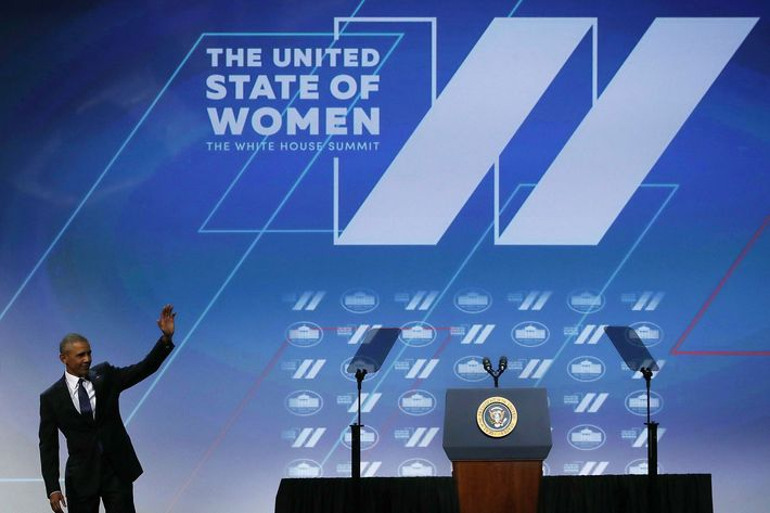 Obama speaking at the United State of Women.