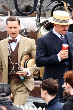 Joel Edgerton gives Tobey Maguire the middle finger on set of 'The Great Gatsby' in Sydney, Australia.