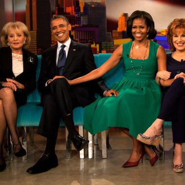 NEW YORK - SEPTEMBER 24:  (AFP OUT) (L-R) Barbara Walters, U.S. President Barack Obama, first lady Michelle Obama and Joy Behar pose for a photo on the set of The View on ABC-TV September 24, 2012 in New York City. Obama is in New York to attend the United Nations General Assembly.  (Photo by Allan Tannenbaum-Pool/Getty Images)
