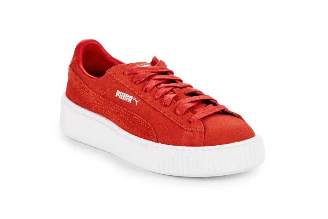 Puma Leather Platform Sneakers, Red