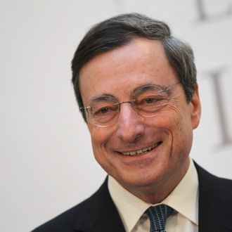 Mario Draghi, President of the European Central Bank (ECB), speaks at the Ludwig Erhard Lecture on December 15, 2011 in Berlin, Germany. Draghi said a