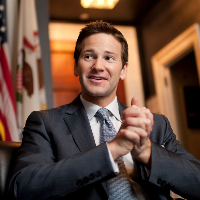 Rep. Aaron Schock, R-Ill., is interviewed by Roll Call in his Longworth office. (Photo By Tom Williams/CQ Roll Call)