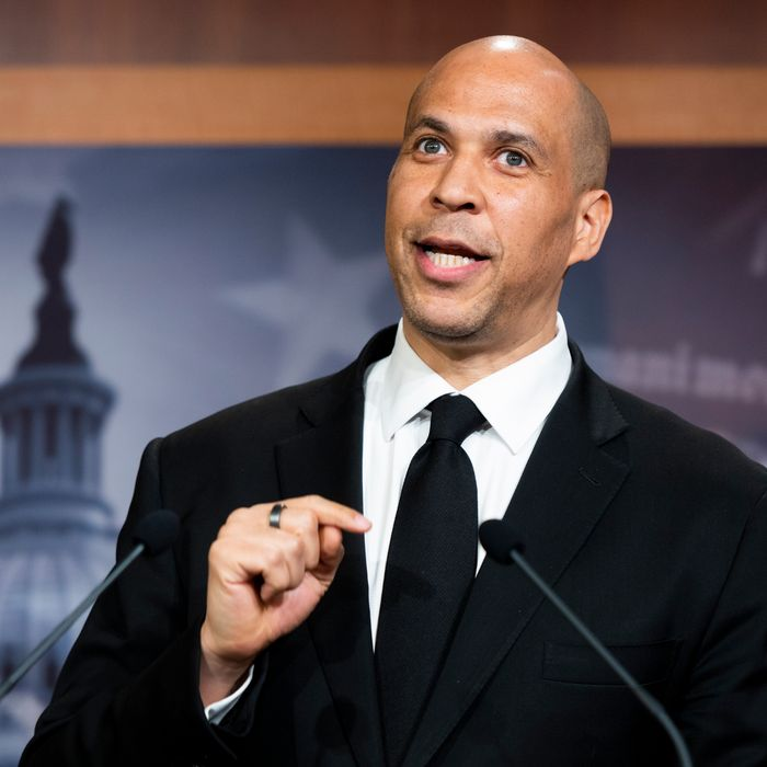 Cory Booker speaking at a podium