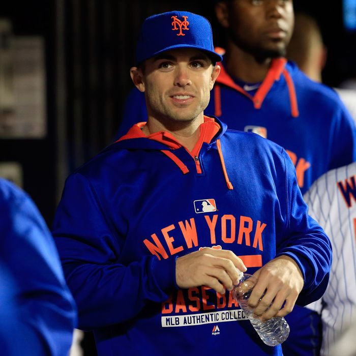 NEW YORK, NY - APRIL 21: David Wright #5 of the New York Mets looks on from the dugout against the Atlanta Braves during a game at Citi Field on April 21, 2015 in the Flushing neighborhood of the Queens borough of New York City. (Photo by Alex Trautwig/Getty Images)