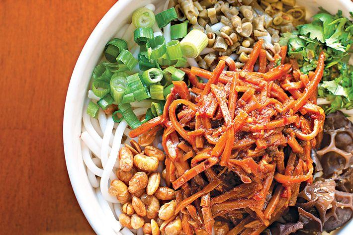 """Gui Lin Mi Fen's Sour & Spicy """"Good Friends"""" noodle bowl."""