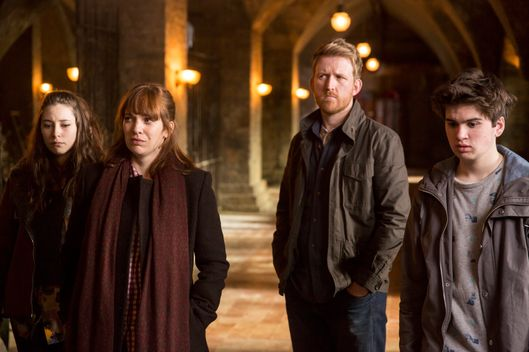 Lucy Carless as Mattie Hawkins, Katherine Parkinson as Laura Hawkins, Tom Goodman Hill as  Joe Hawkins and Theo Stevenson as Toby Hawkins - Humans _ Season 1, Episode 8- Photo Credit: Colin Hutton/Kudos/AMC/C4