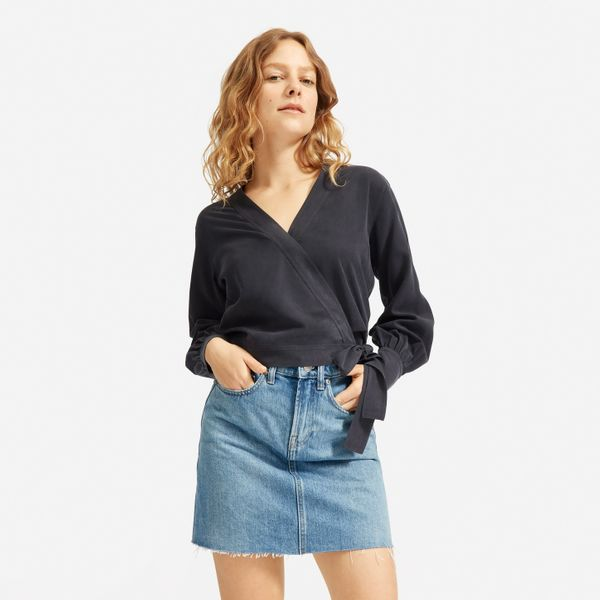 Everlane The Washable-Silk Wrap Top