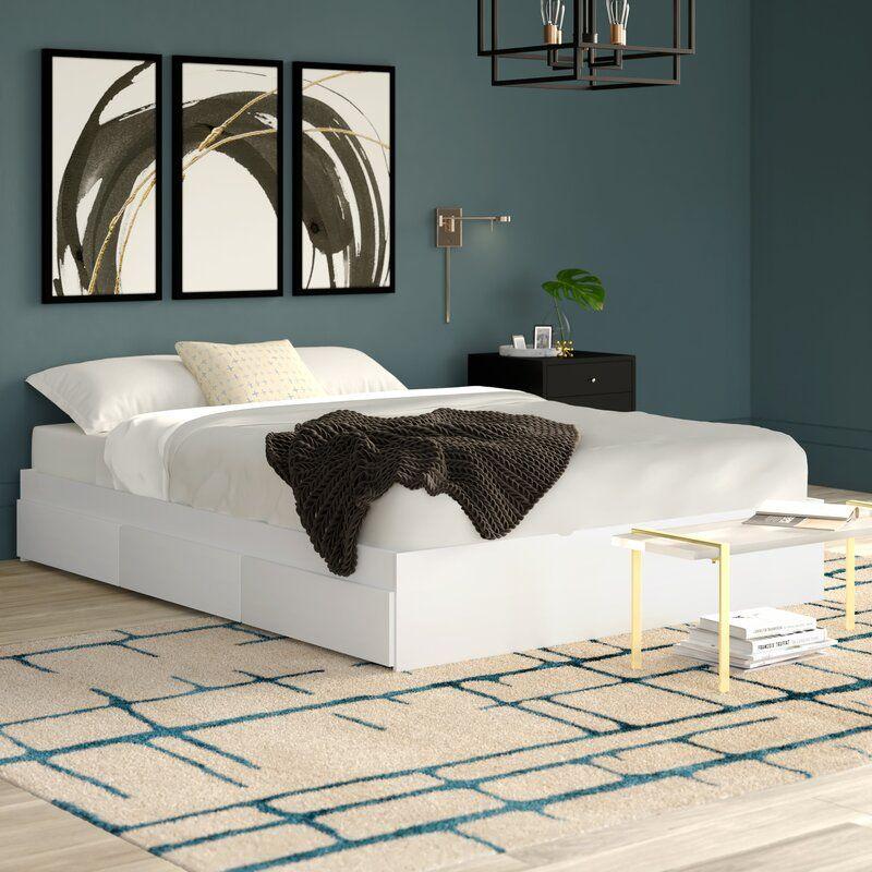 Modern Platform Beds With Storage, Queen Platform Bed With Storage And Headboard White