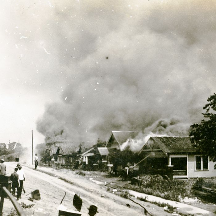 The 1921 burning of Black Wall Street, in the Tulsa, Oklahoma, district of Greenwood.