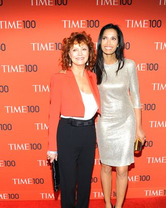 Susan Sarandon, Padma Lakshmi==TIME 100 Gala, TIME's 100 Most Influential People in the World==Jazz at Lincoln Center, NYC==April 29, 2014==?Patrick McMullan==Photo - Paul Bruinooge/PatrickMcMullan.com====