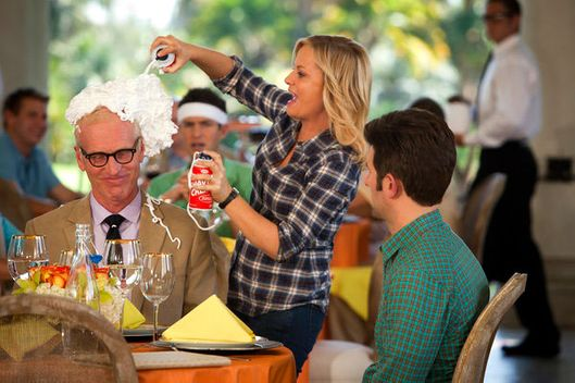 "PARKS & RECREATION -- ""Pawnee Commons"" Episode 508 -- Pictured: (l-r) Brad Hall as Wreston St. James, Amy Poehler as Leslie Knope, Adam Scott as Ben Wyatt"