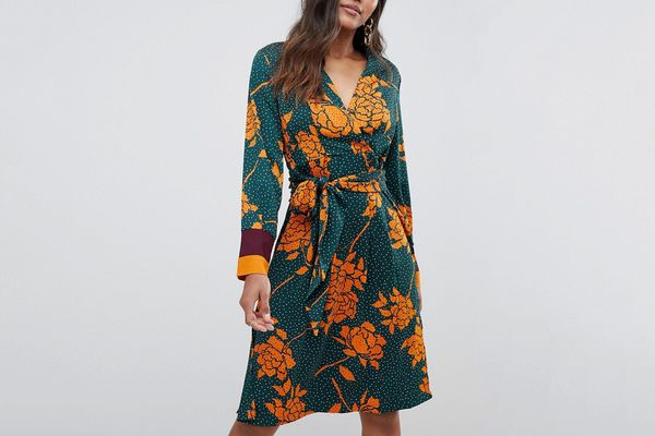Y.A.S floral spotted wrap dress