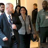 WASHINGTON, DC - NOVEMBER 28:  U.S. Ambassador to the United Nations, Susan Rice (C), arrives for a meeting with Sen. Susan Collins (R-ME) at the U.S. Capitol November 28, 2012 in Washington, DC. Rice has been meeting with members of Congress over the past two days to explain her position on remarks made regarding the attack on the U.S. consulate in Benghazi, Libya.  (Photo by Win McNamee/Getty Images)
