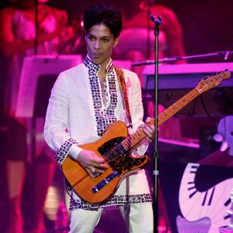 Prince performs during day 2 of the Coachella Valley Music And Arts Festival on April 26, 2008 in Indio, California.