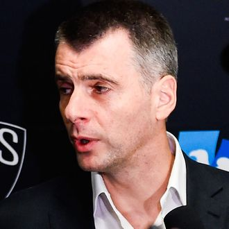 Brooklyn Nets owner Mikhail Prokhorov speaks to the media before a game between the Brooklyn Nets and Oklahoma City Thunder at the Barclays Center on November 3, 2014 in the Brooklyn borough of New York City.